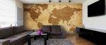 Salon, fototapeta mapa świata